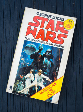 London, England - January 23, 2016: Star Wars Paperback Book 1977, Written by George Lucas