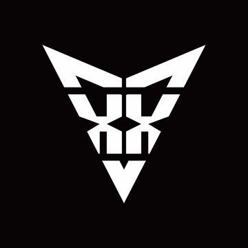 XX Logo monogram with back drop shape logo design template