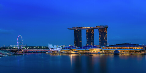 Marina Bay Sands at night the largest hotel in Asia.