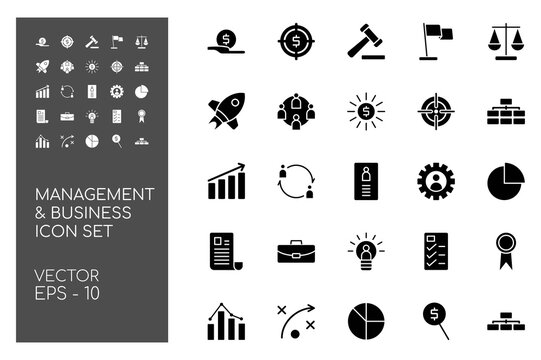 Icon Set of Business and Management with Black Monochrome Concept Isolated on White Background. This Bundle Consists of 25 Icon, among them : Funding, Teamwork, System, Contract, etc. - vector