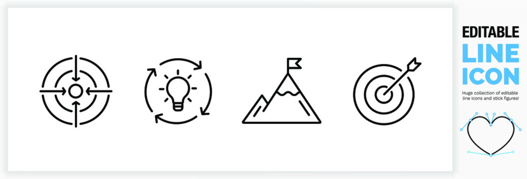 Editable line icon set for personal success stories.