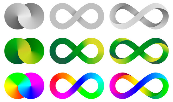 Colorful infinity signs. Abstract endless symbols collections.