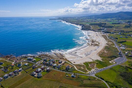 aerial view of Barreiros Beachs in Galicia Spain