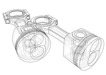 Sketch of piston. 3D illustration