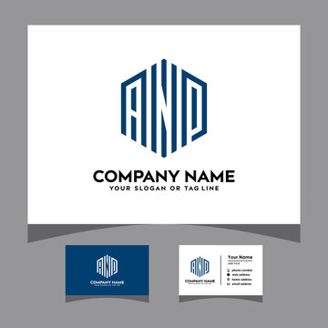 initials AMP logo with a business card vector