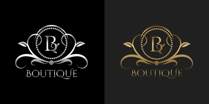 Luxury Logo Letter B Template Vector Circle for Restaurant, Royalty, Boutique, Cafe, Hotel, Heraldic, Jewelry, Fashion