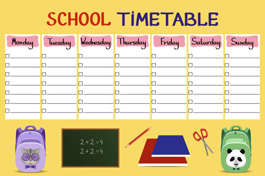 School timetable.Template of the schedule of the day and lessons of pupils. Schedule for every day. Back to school. Vector illustration