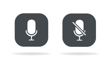 Microphone icon set vector. Microphone and muted microphone . Vector Illustration