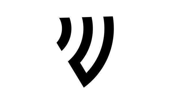 illustration iu shield signal logo design icon vector