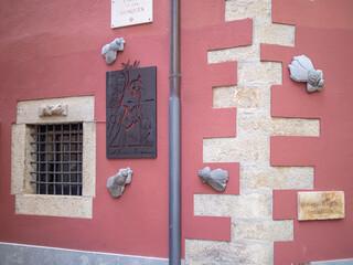 Garden Poster Narcissus GIRONA SPAIN-JUNE 27, 2020: Street corner of the Carrer de les Mosques (Street of Flies).