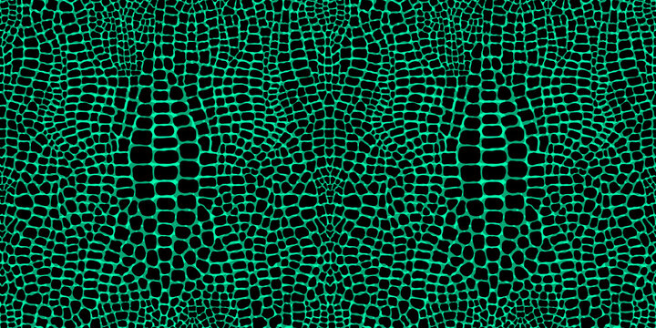 Realistic seamless pattern with crocodile or alligator print. Green leather skin imitation wallpaper. Animalistic vector background.
