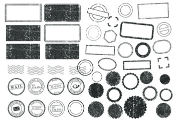Obraz Stamps frames vector icon shape set. Stamp grunge ink rubber labels sign collection. Isolated on white background. Black round and square stamp border pack. - fototapety do salonu