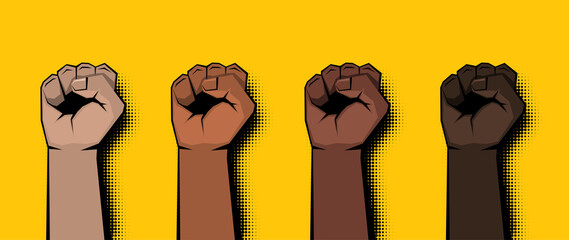 Pop art raised clenched fists on yellow background.