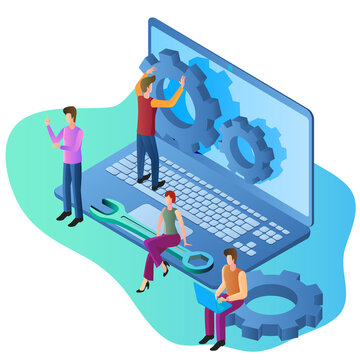 Operating system maintenance.The modern concept of maintenance of operating systems for web design. Communication technology.Business concept.Isometric vector image.