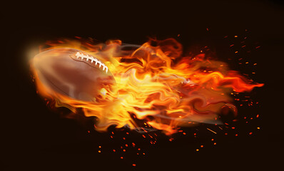Rugby ball with bright flame flying on black background