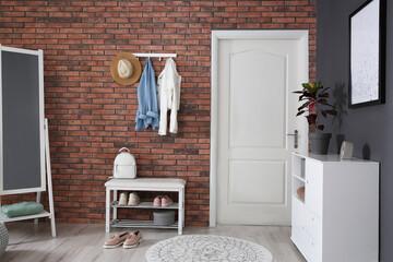 Modern hallway with stylish furniture. Interior design