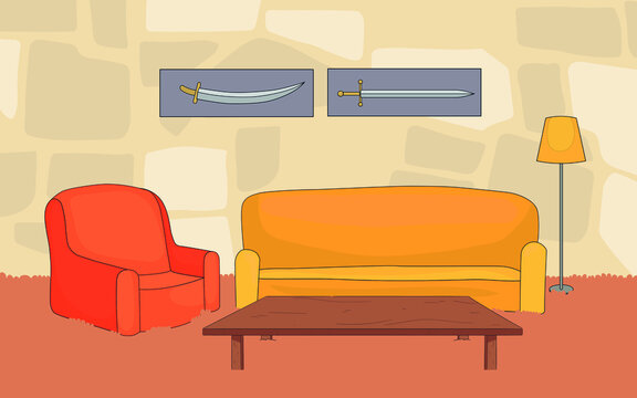 we see the interior of a room where there is a sofa and a chair, next to it there is a table and a lamp,vector,cartoon.