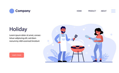 Couple having barbeque party outdoors. Bearded man grilling meat and woman playing guitar flat vector illustration. Barbeque party concept for banner, website design or landing web page