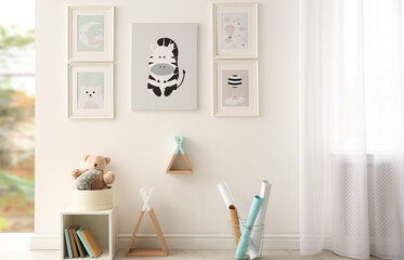 Beautiful pictures in stylish child's room interior