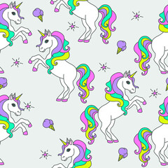 Seamless pattern with unicorns, stars and ice cream. Magical children's background.