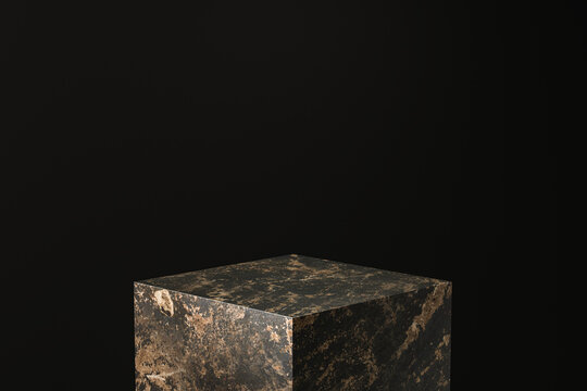 Black marble product display on dark background with advertising backdrops. Empty pedestal podium for showing. 3D rendering.