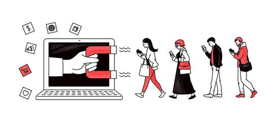 Fototapeta Inbound marketing with magnet attracting people sketch vector illustration. obraz