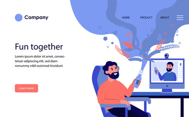 Man drinking beer online with his friend. Male friends having online conference in quarantine flat vector illustration. Internet and isolation concept for banner, website design or landing web page