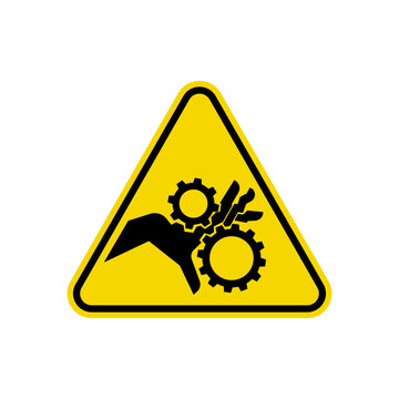 Pinch Point Entanglement Crush Gears Sign. ISO Triangle Warning Symbol Simple, Flat Vector, Icon You Can Use Your Website Design, Mobile App Or Industrial Design. Vector Illustration