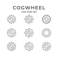 Set line icons of cogwheel