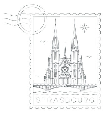 St. Paul church stamp, vector illustration and typography design, Strasbourg, France