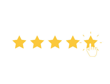 Five yellow stars with clicking hand. Quality rank set. Best choice illustration. Hand touching last star. Rating sign. Feedback and review set with simple stars shape. Vector EPS 10.