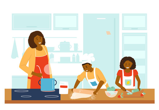 Afroamerican Family Cooking Together In Kitchen. Mother With Daughter And Son Making Dinner. Making Soup, Salad and Pizza. Boy Makes Dough, Girl Cuts Vegetables. Flat Vector Illustration.