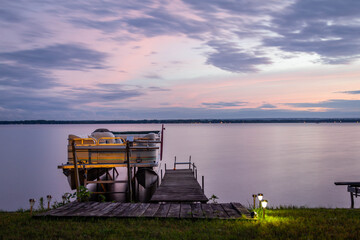 Obraz Ship In Sea Against Sky At Sunset - fototapety do salonu