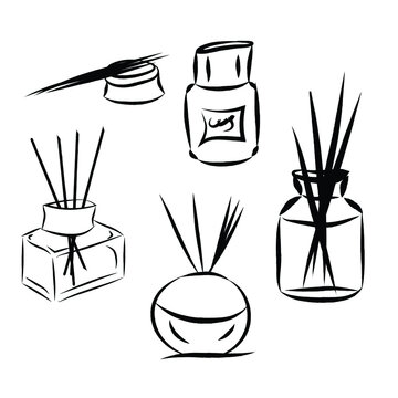 set of spa objects. Fragrance diffuser with sticks. Vector aromatic bottles. Set of vector diffusers. isolated on white background. Used in the spa, relaxation and home interior.