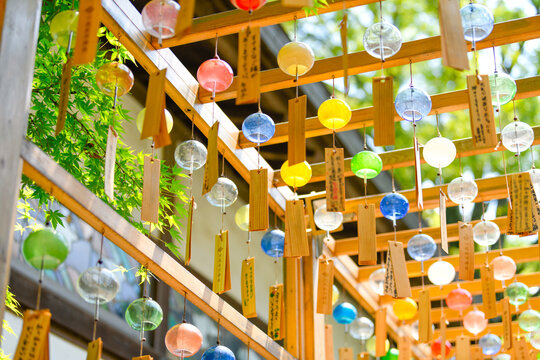 Low Angle View Of Decorations Hanging Outdoors