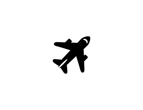 Airplane vector flat icon. Isolated passenger plane, aircraft illustration