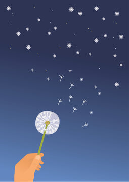 Dandelion and stars. Vector illustration of night sky and hand with dandelion