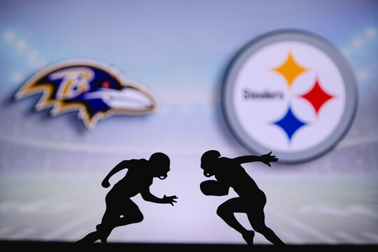 Baltimore Ravens vs. Pittsburgh Steelers. NFL match poster. Two american football players silhouette facing each other on the field. Clubs logo in background. Rivalry concept photo.
