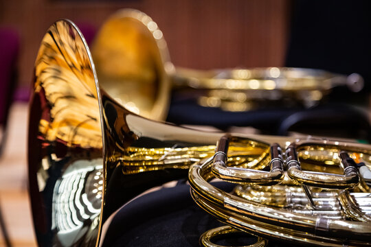 Close-up Of French Horns On Table