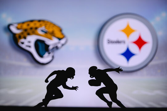 Jacksonville Jaguars vs. Pittsburgh Steelers. NFL match poster. Two american football players silhouette facing each other on the field. Clubs logo in background. Rivalry concept photo.