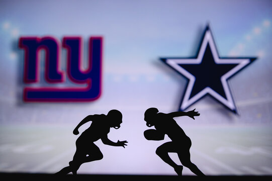 New York Giants vs. Dallas Cowboys. NFL match poster. Two american football players silhouette facing each other on the field. Clubs logo in background. Rivalry concept photo.