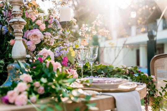 An elegant wedding table setting in the garden.