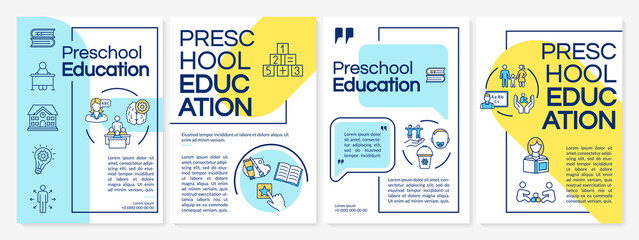 Fototapeta Children preschool education brochure template. Early childhood. Flyer, booklet, leaflet print, cover design with linear icons. Vector layouts for magazines, annual reports, advertising posters obraz