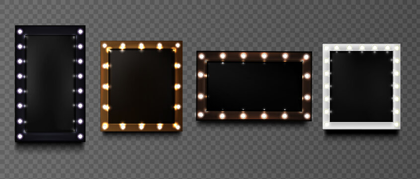 Square frames with light bulbs on black board isolated on transparent background. Vector realistic mockup of rectangular makeup mirror with golden, silver, black and brown borders