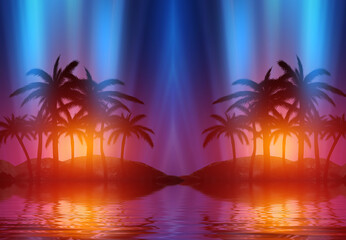 Photo sur Aluminium Rouge traffic Abstract futuristic background. Neon glow, reflection of tropical palm trees on the water. Night view, beach party. 3d illustration
