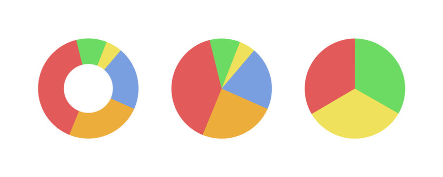 Three pie charts (one doughnut). Flat icons isolated. Vector illustrations.