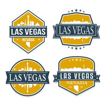 Las Vegas Nevada Travel Stamp Icon Skyline City Design Vector Badge.