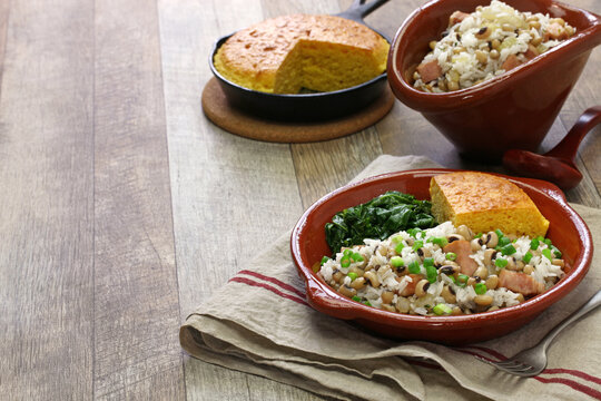 hoppin john: new year traditional food: black eyed pea and rice, cornbread and kale: southern food