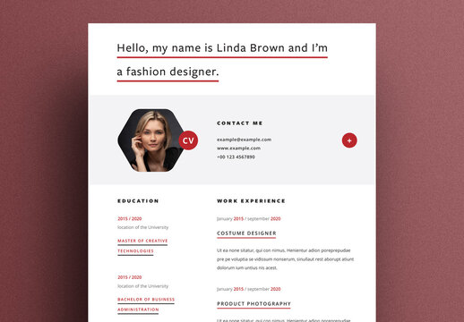Modern Resume Layout with Hexagon Shaped Placeholder