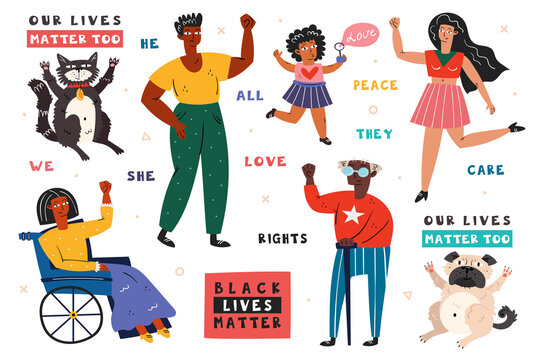 All lives matter. Different races people with hands up. Man, woman, child, invalid. Dark, light skin color. No racism. Active social position. Animal rights. Flat vector illustration, icon, sticker.